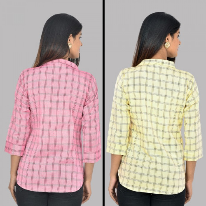 Women PInk and Yellow Collar Cotton Check Shirt Combo Pack