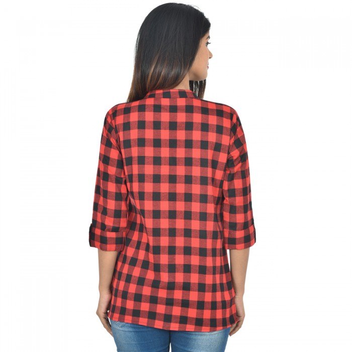 Women Red Cotton Check Shirt