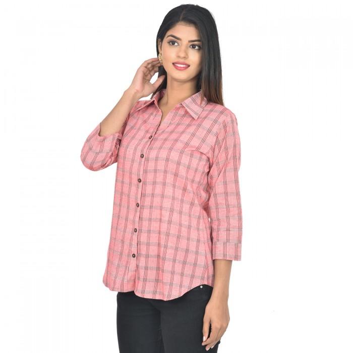 Women Red Collar Cotton Check Shirt