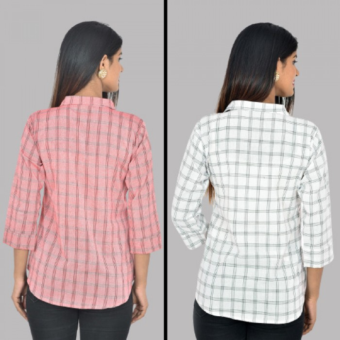 Women Red And White Collar Cotton Check Shirt Combo Pack