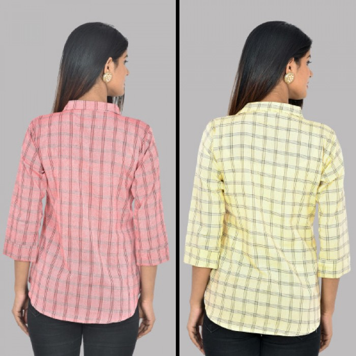 Women Red And Yellow Collar Cotton Check Shirt Combo Pack