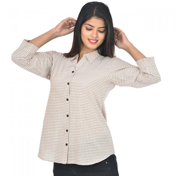 Women White Collar Cotton Check Shirt