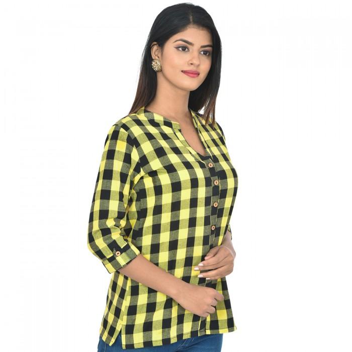 Women Yellow Cotton Check Shirt
