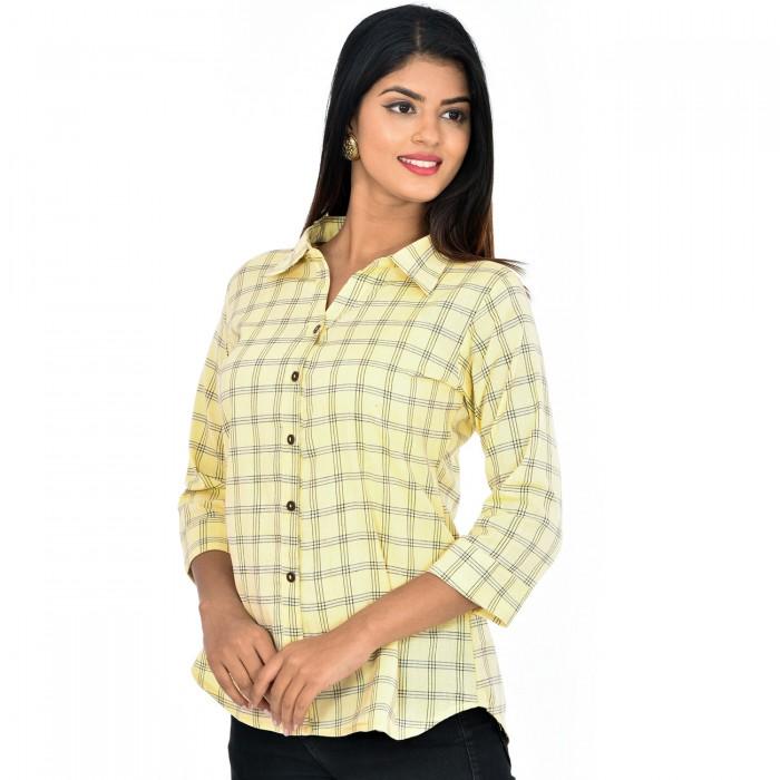 Women Yellow Collar Cotton Check Shirt