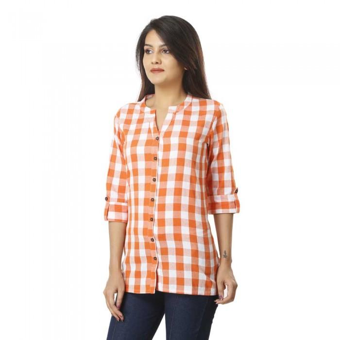 Women Orange Cotton Check Shirt