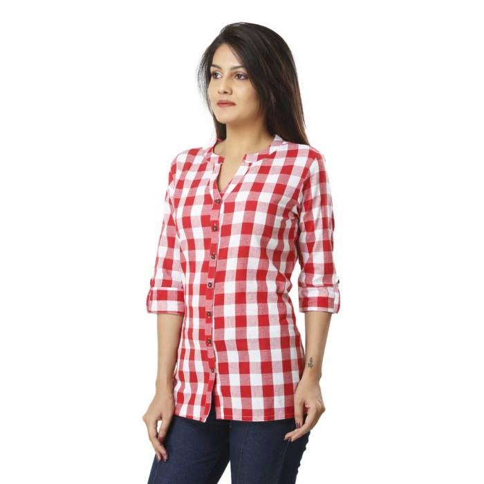 Women Pink Cotton Check Shirt
