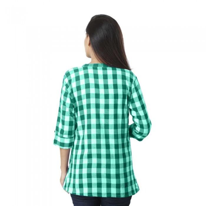 Women Green Cotton Check Shirt