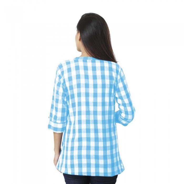 Women Sky Blue Cotton Check Shirt