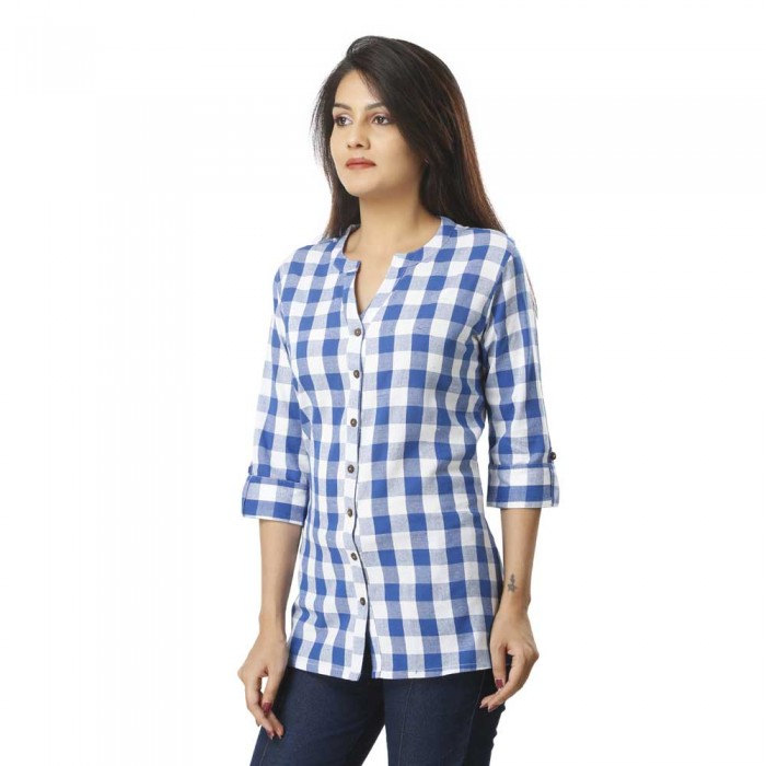 Women Light Blue Cotton Check Shirt