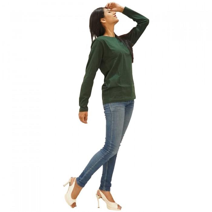 Green Women Round Neck Full Sleeve T-Shirt