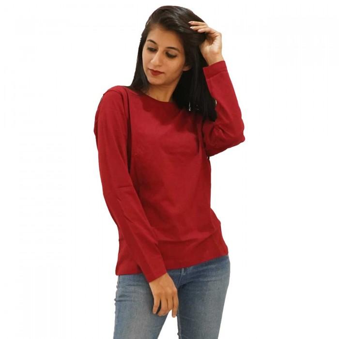 Maroon Women Round Neck Full Sleeve T-Shirt