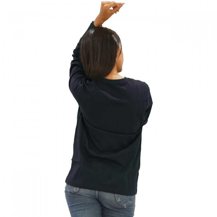 Navy Blue Women Round Neck Full Sleeve T-Shirt