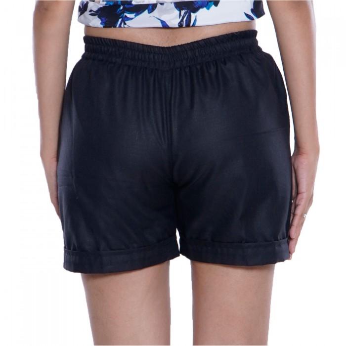 Black Cotton Short for Girls