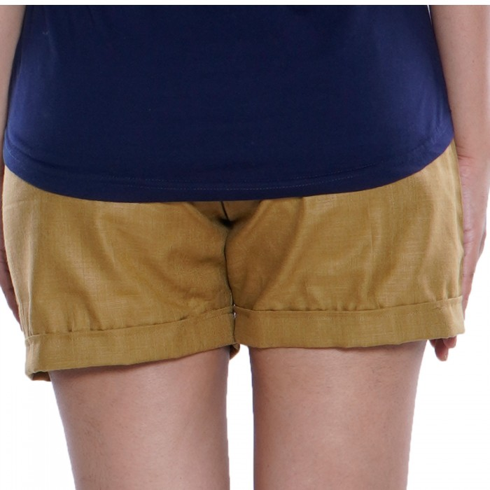 Brown Cotton Short for Girls