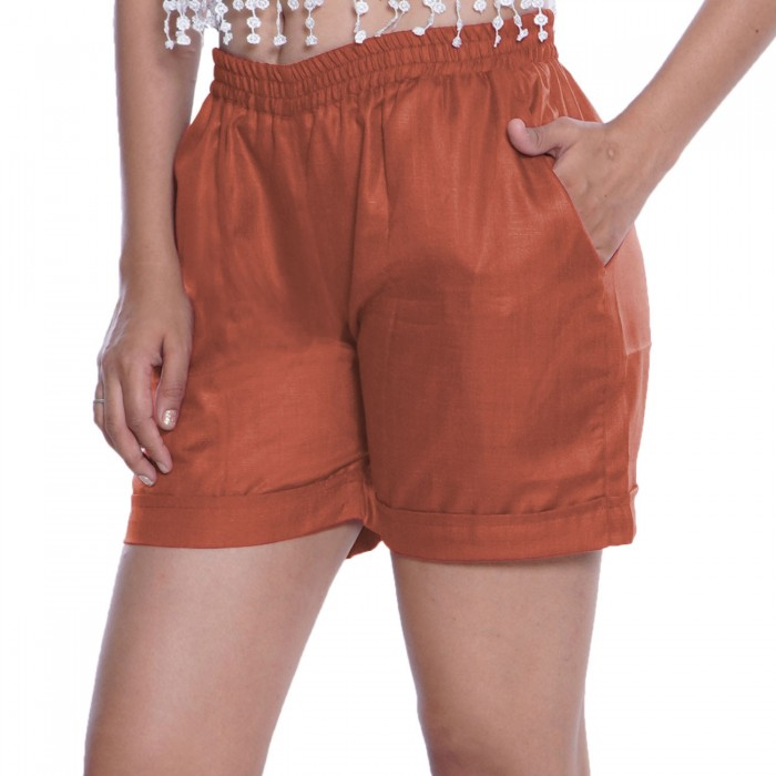 Carrot Red Cotton Shorts for Girls
