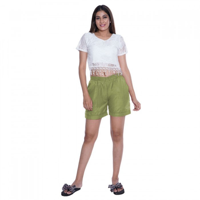 Green Cotton Shorts for Girls
