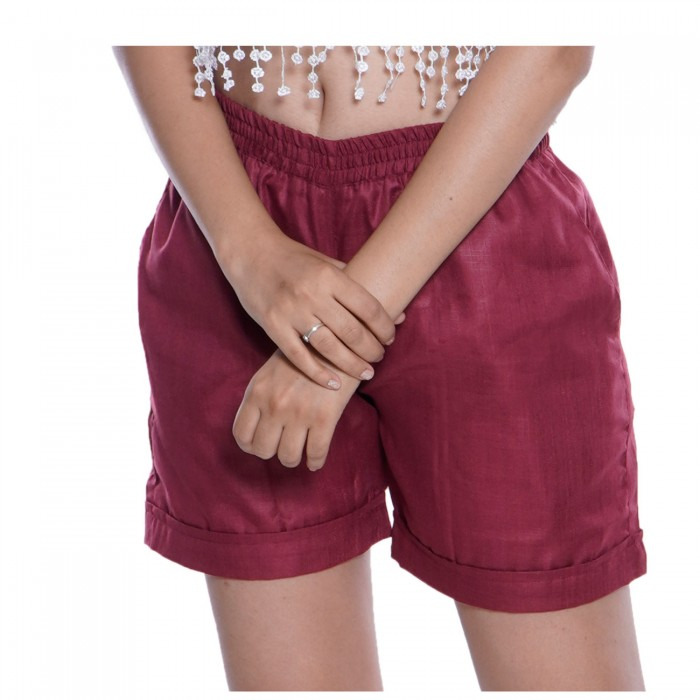 Maroon Cotton Short for Girls