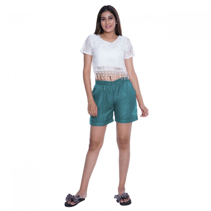 Ocean Blue Cotton Shorts for Girls