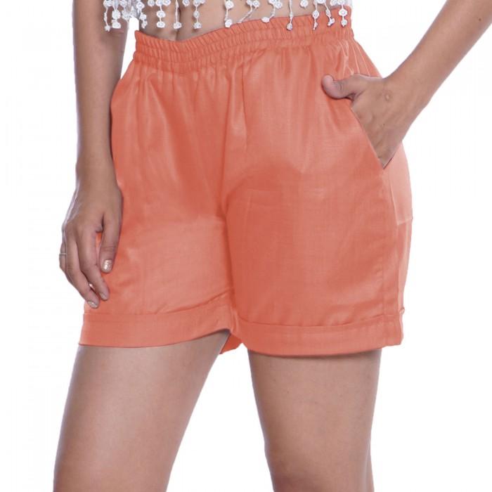 Orange Cotton Shorts for Girls