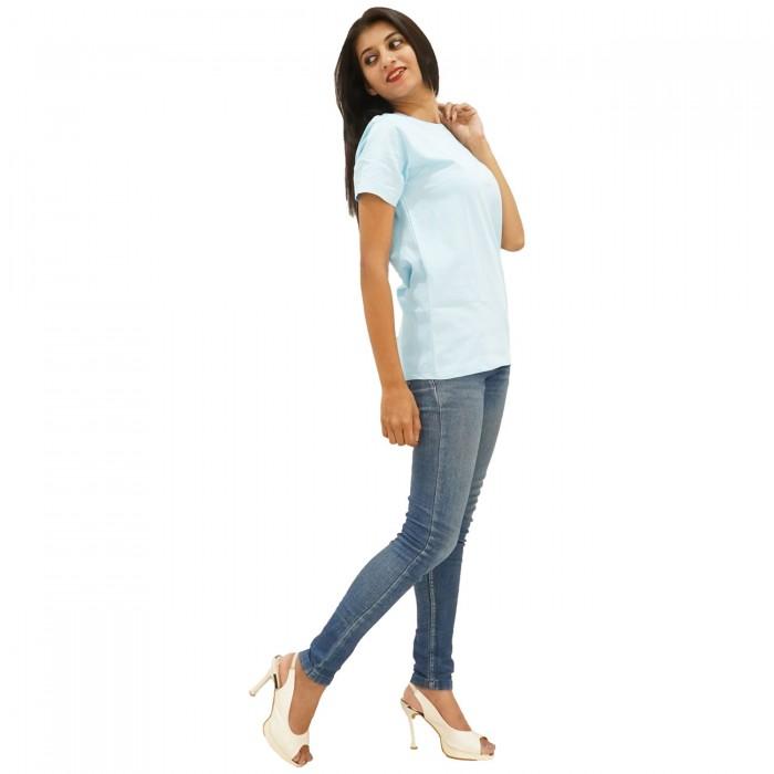 Ice Blue Girls Half Sleeve T-Shirt