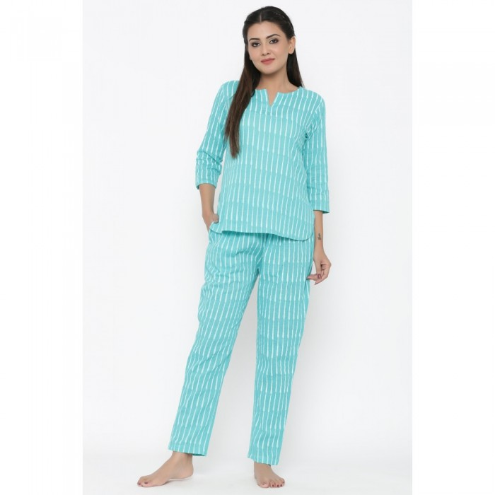 Turquoise Cotton Striped Night Wear