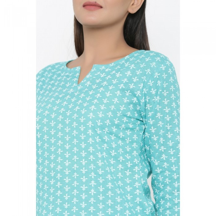 Turquoise Cotton Printed Night Wear