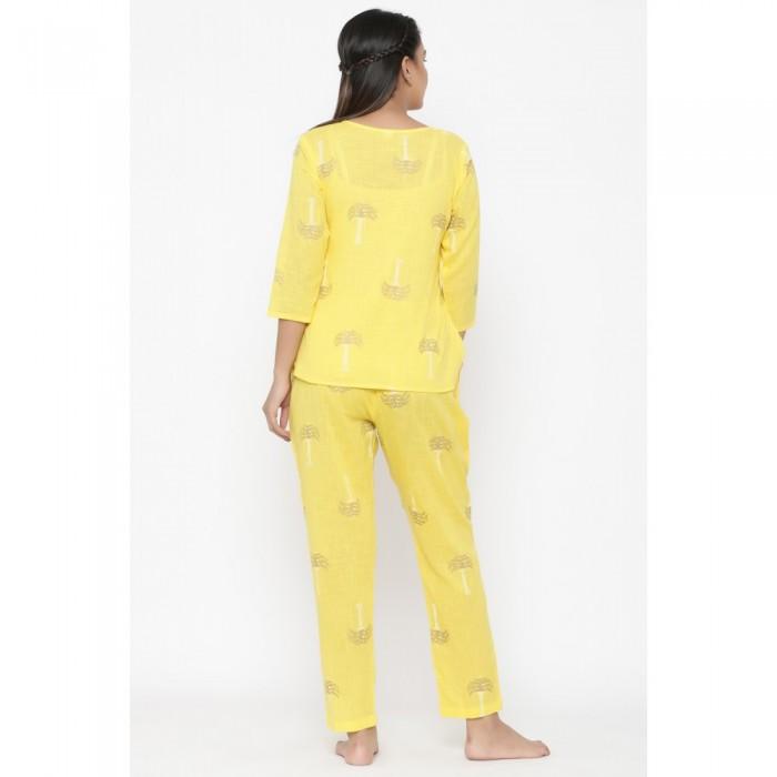 Yellow Cotton Printed Night Wear
