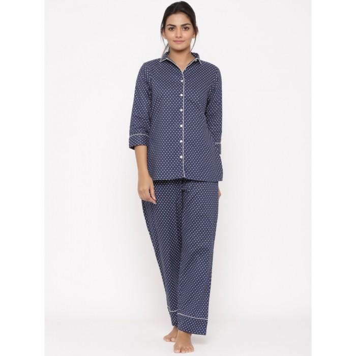 Blue Cotton Printed Night Wear