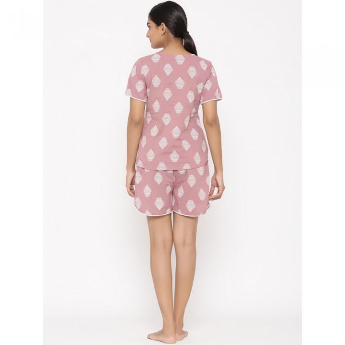 Peach Cotton Printed Short Night Wear