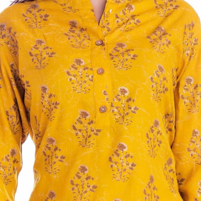 Dark Yellow Grey Flower Printed Top