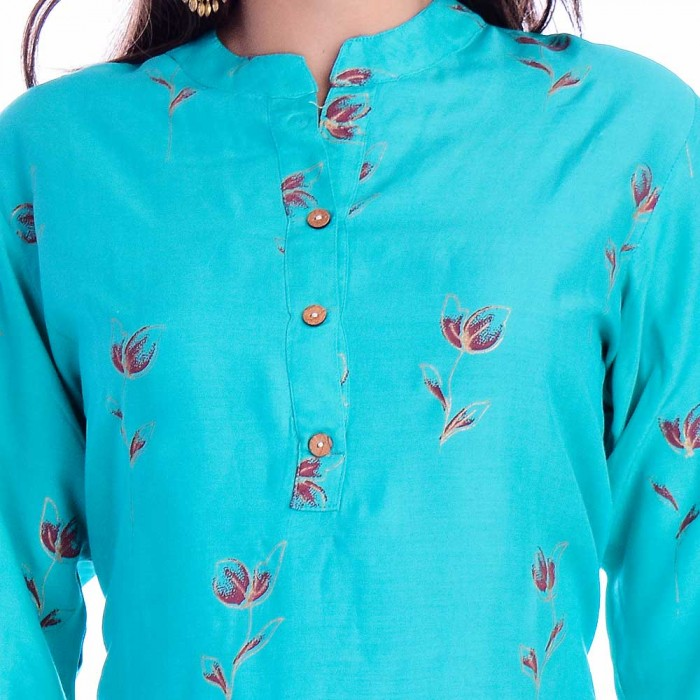 Light Blue Red Flower Printed Top