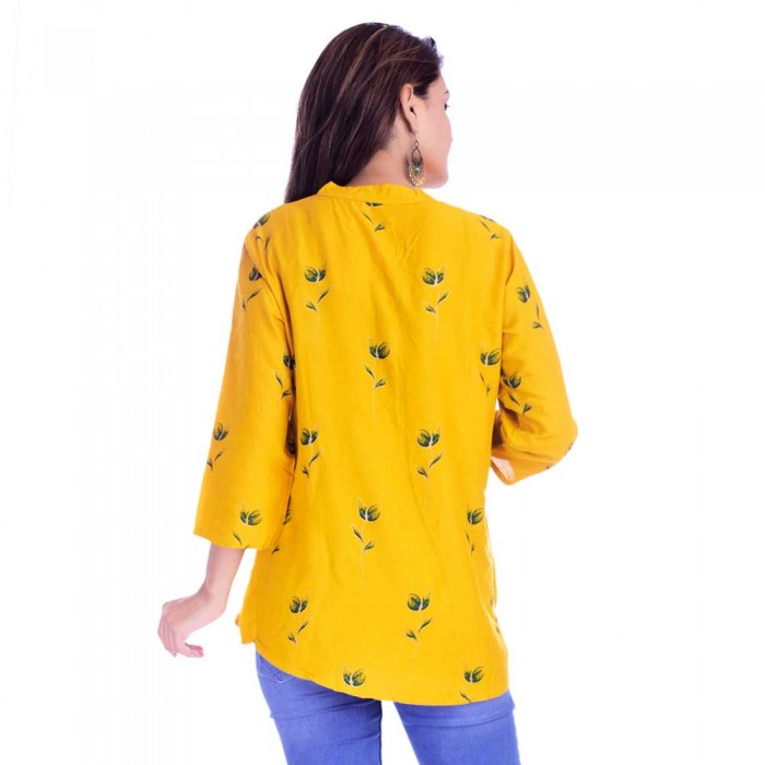 Yellow Grey Flower Printed Top