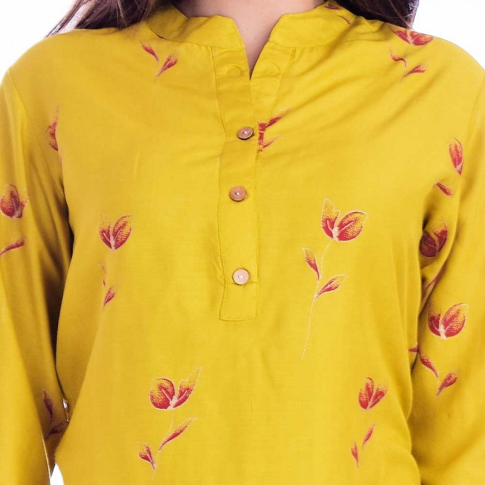Yellow Red Flower Printed Top