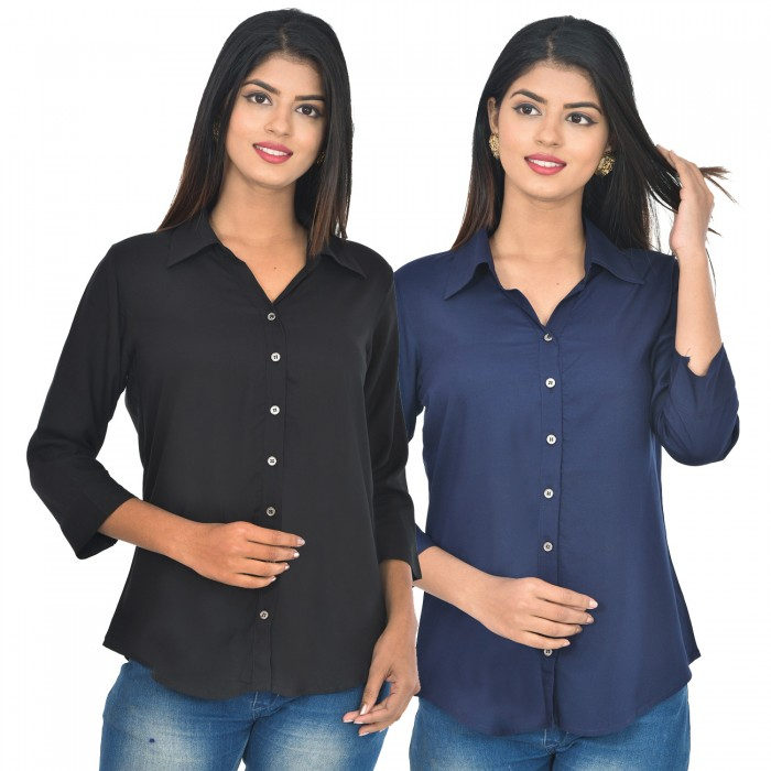 Women Black and dark blue Solid Rayon Collar Shirt combo pack
