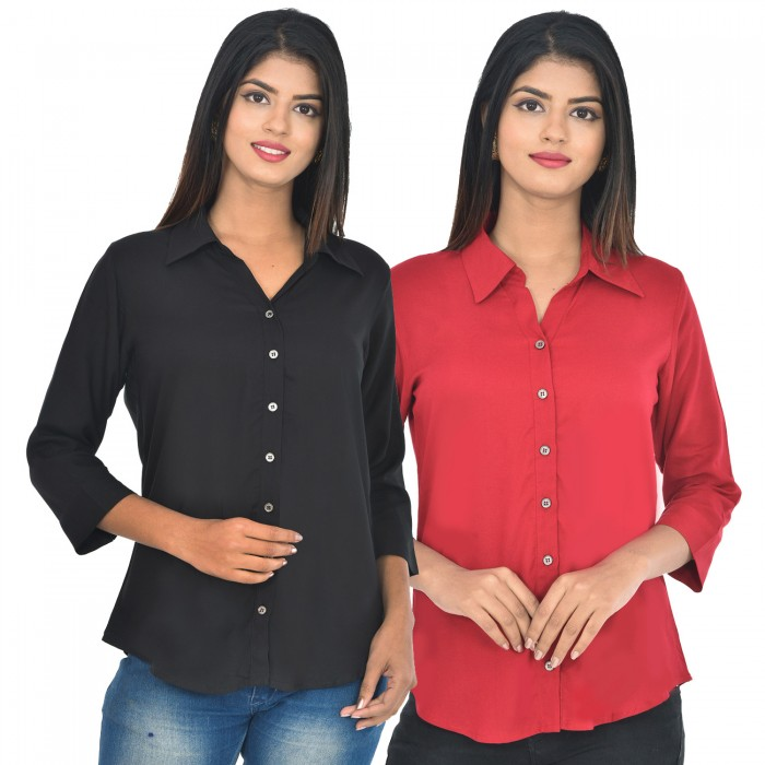 Women Black and maroon Solid Rayon Collar Shirt combo pack