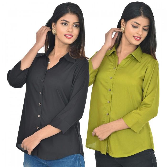 Women Black and mehndi Solid Rayon Collar Shirt combo pack