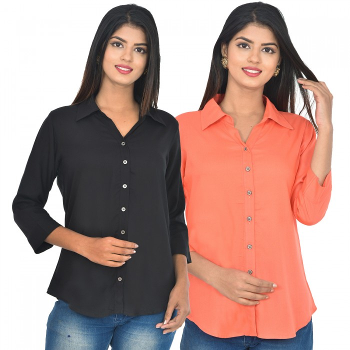 Women Black and peach Solid Rayon Collar Shirt combo pack