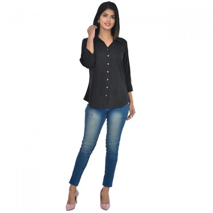 Women Black Solid Rayon Collar Shirt