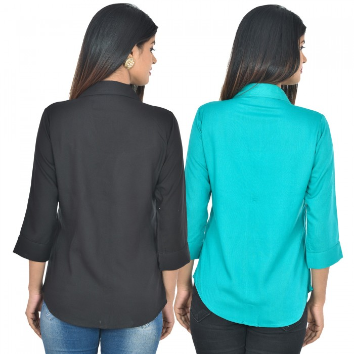 Women Black and sky blue Solid Rayon Collar Shirt combo pack