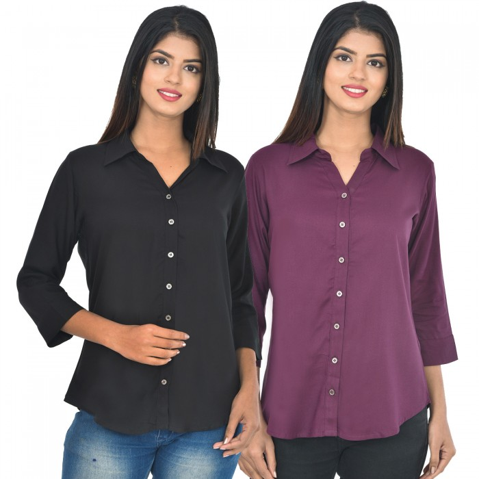 Women Black and wine Solid Rayon Collar Shirt combo pack