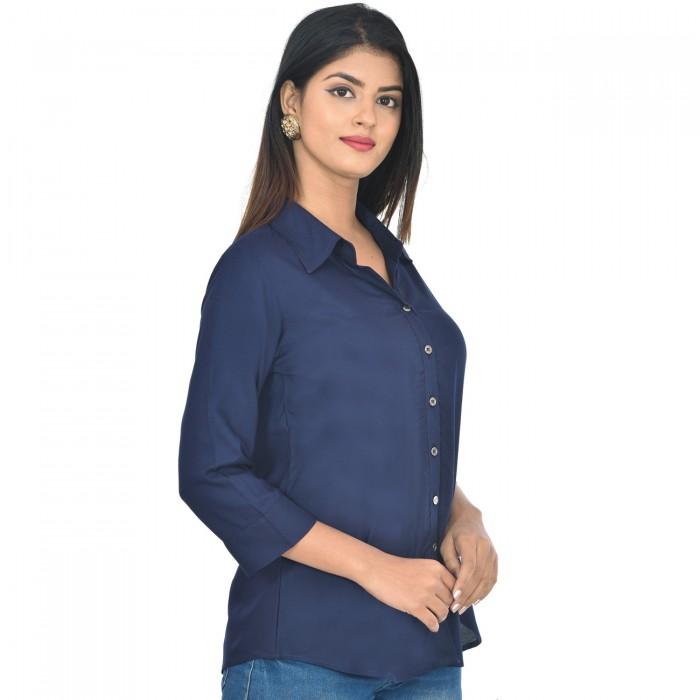Women Dark Blue Solid Rayon Collar Shirt