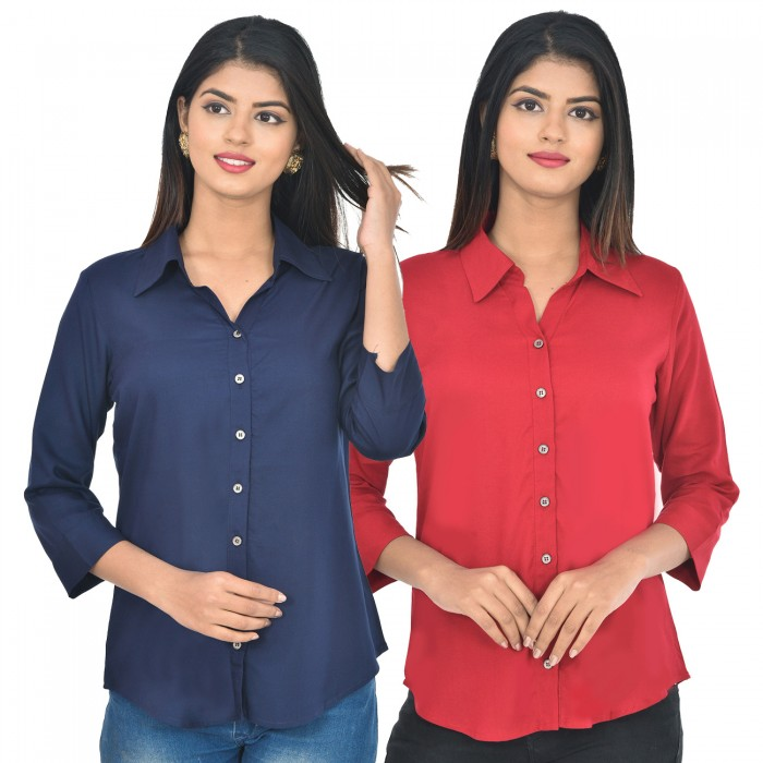 Women dark blue and maroon Solid Rayon Collar Shirt combo pack