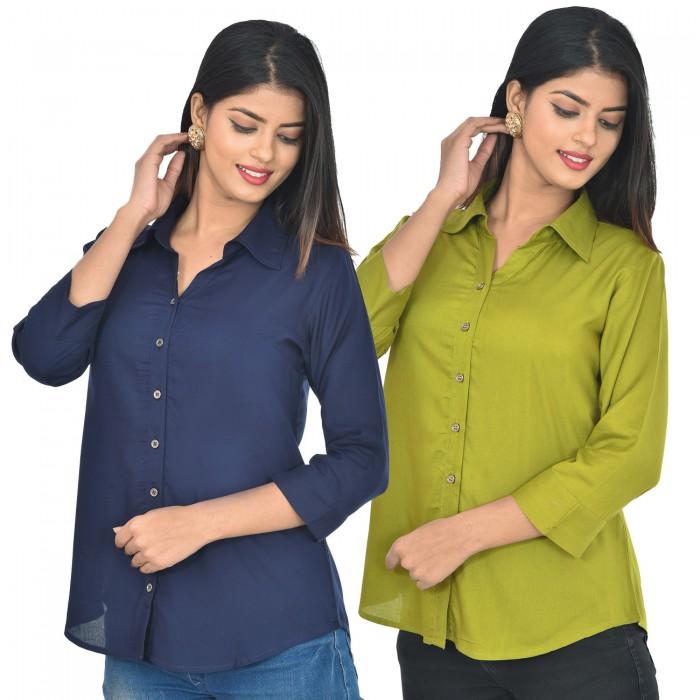 Women Dark blue and mehndi Solid Rayon Collar Shirt combo pack