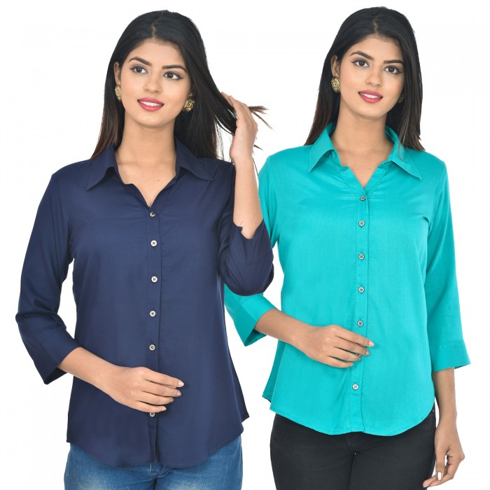 Women Dark blue and sky blue Solid Rayon Collar Shirt combo pack