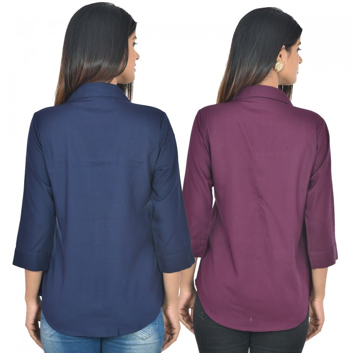Women Dark blue and wine Solid Rayon Collar Shirt combo pack