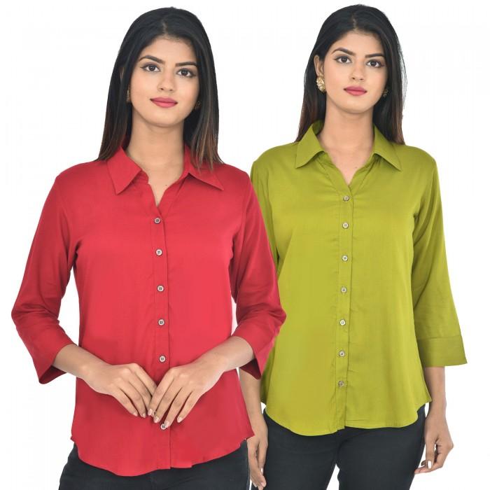 Women maroon and mehndi Solid Rayon Collar Shirt combo pack