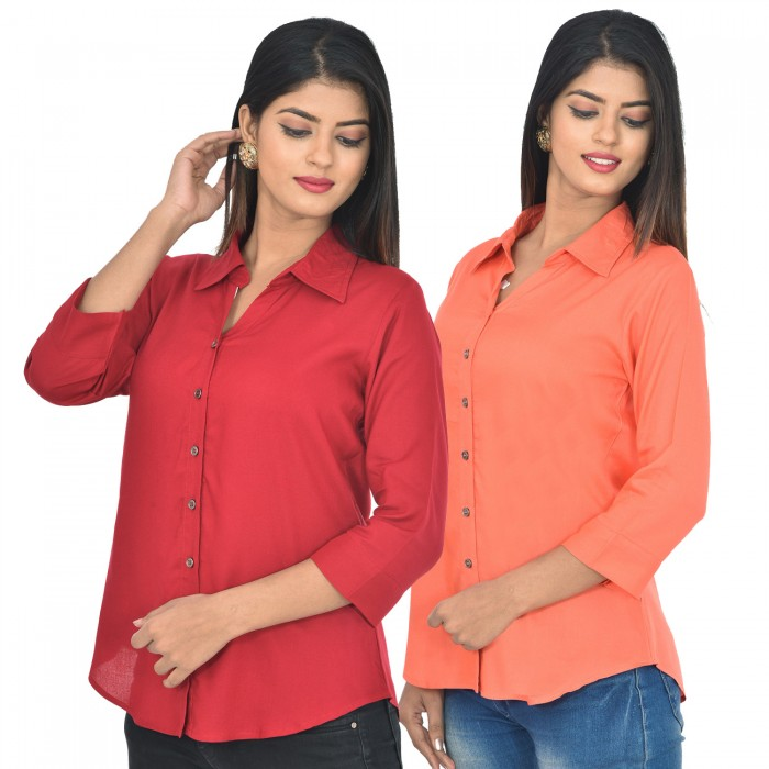 Women maroon and peach Solid Rayon Collar Shirt combo pack