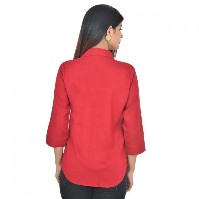 Women Maroon Solid Rayon Collar Shirt