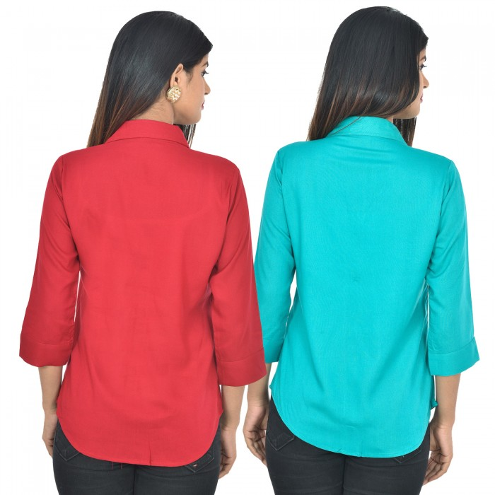 Women maroon and sky blue Solid Rayon Collar Shirt combo pack