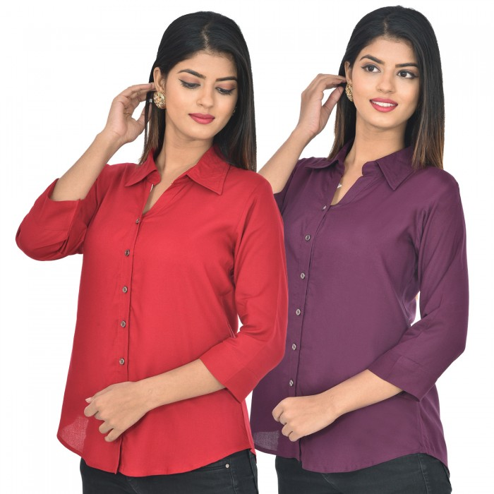 Women maroon and wine Solid Rayon Collar Shirt combo pack